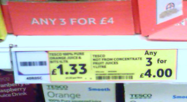 Tesco Orange Juice - £1.33 or 3 for £4!